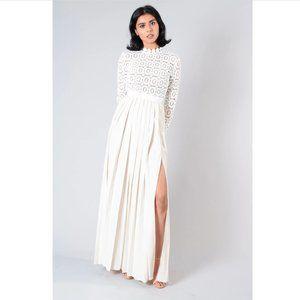 SELF-PORTRAIT WHITE L/S MAXI DRESS W/ LACE TOP